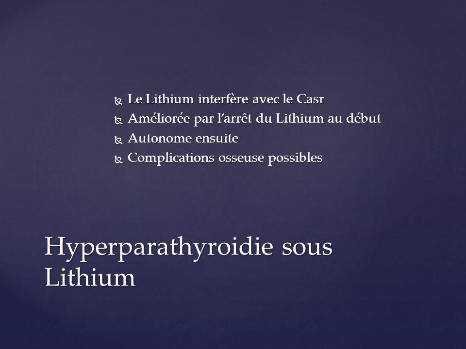 Le Lithium interfère avec le Casr Le Lithium interfère avec le Casr Améliorée par larrêt du Lithium au début Améliorée par larrêt du Lithium au début