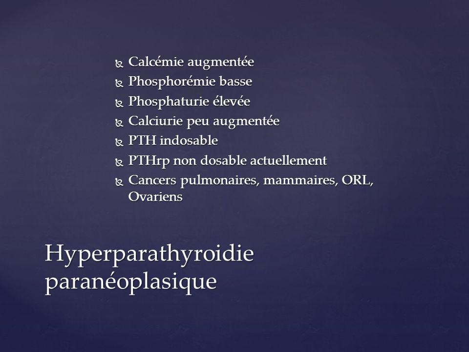 Calcémie augmentée Calcémie augmentée Phosphorémie basse Phosphorémie basse Phosphaturie élevée Phosphaturie élevée Calciurie peu augmentée Calciurie