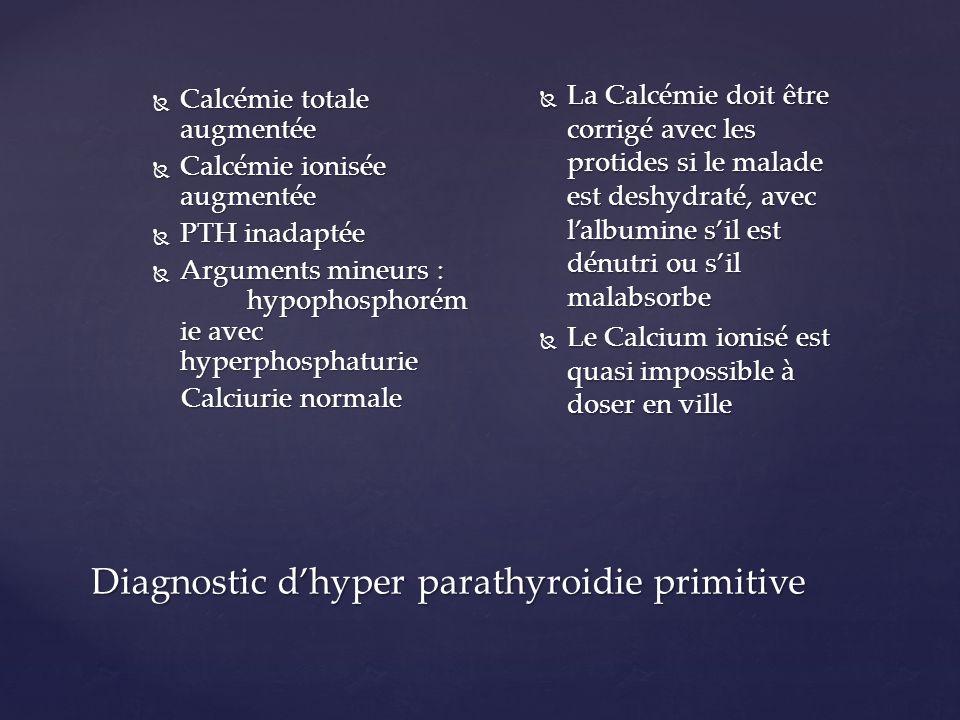 Calcémie totale : 2.55 mmol/l Calcémie totale : 2.55 mmol/l Calcémie ionisée : 1.32 mmol/l ( N : 1.16-1.27) Calcémie ionisée : 1.32 mmol/l ( N : 1.16-1.27) PTH : 50 pg/ml ( N = 25-75) PTH : 50 pg/ml ( N = 25-75) Cest une dHPT