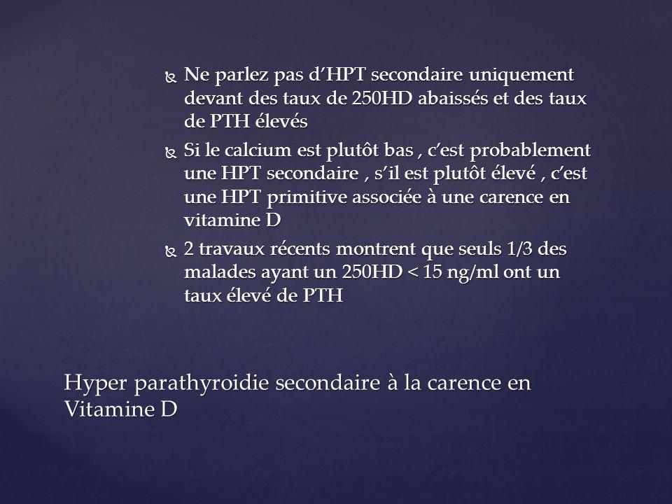 Ne parlez pas dHPT secondaire uniquement devant des taux de 250HD abaissés et des taux de PTH élevés Ne parlez pas dHPT secondaire uniquement devant d