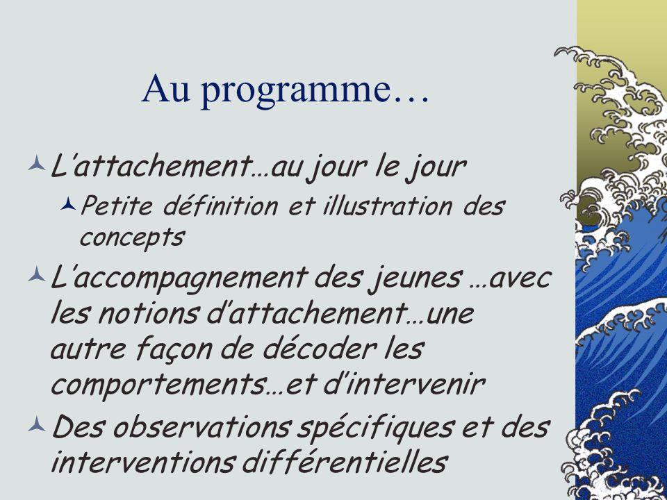 Au programme… Lattachement…au jour le jour Petite définition et illustration des concepts Laccompagnement des jeunes …avec les notions dattachement…un