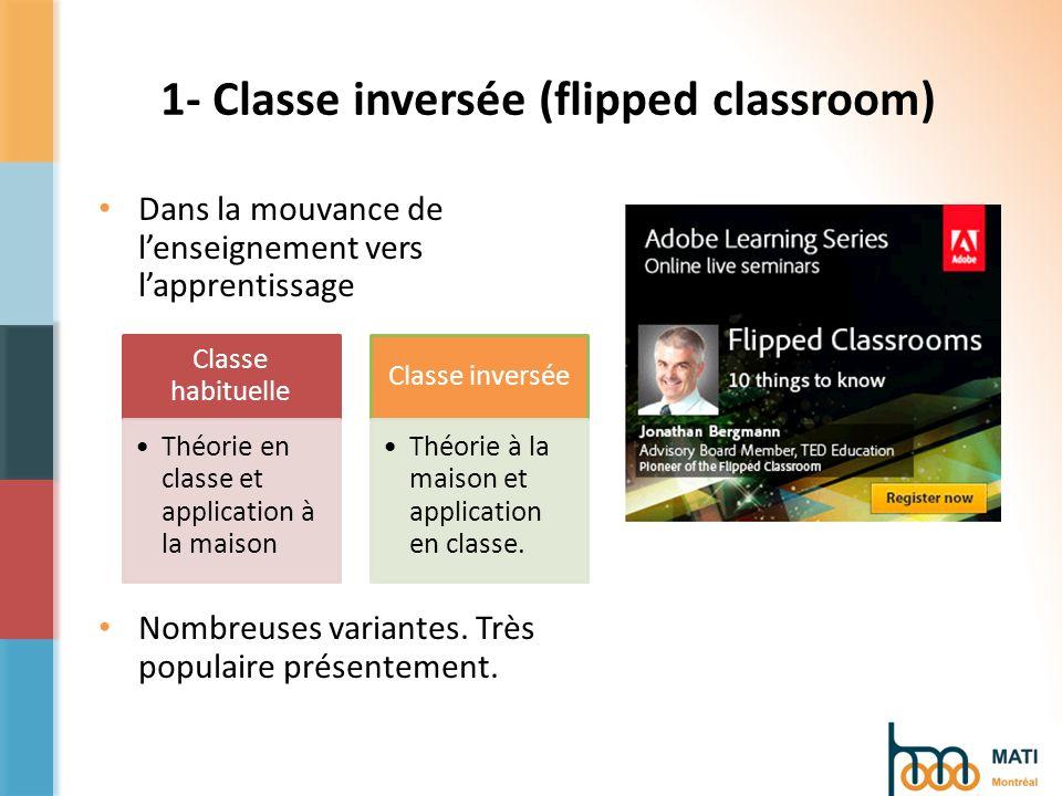 1- Classe inversée (flipped classroom) Dans la mouvance de lenseignement vers lapprentissage Nombreuses variantes.