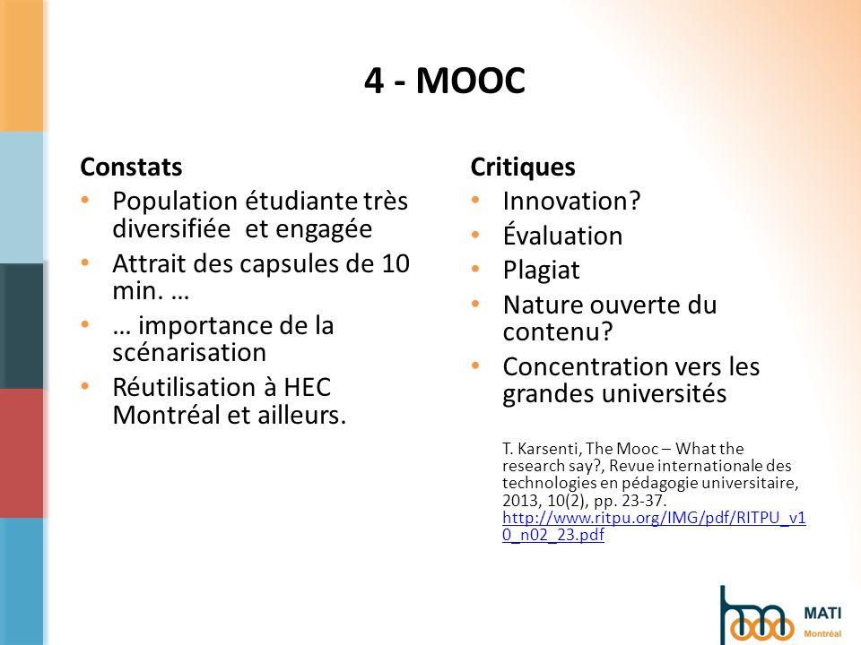 4 - MOOC Constats Population étudiante très diversifiée et engagée Attrait des capsules de 10 min.