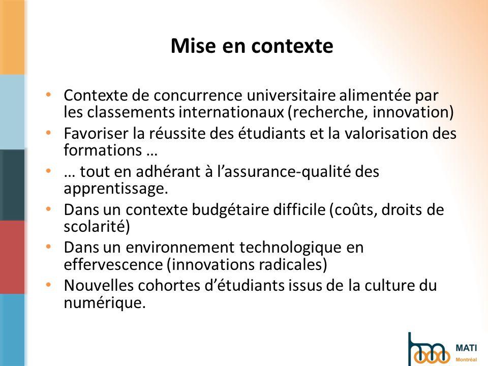 Mise en contexte Contexte de concurrence universitaire alimentée par les classements internationaux (recherche, innovation) Favoriser la réussite des étudiants et la valorisation des formations … … tout en adhérant à lassurance-qualité des apprentissage.