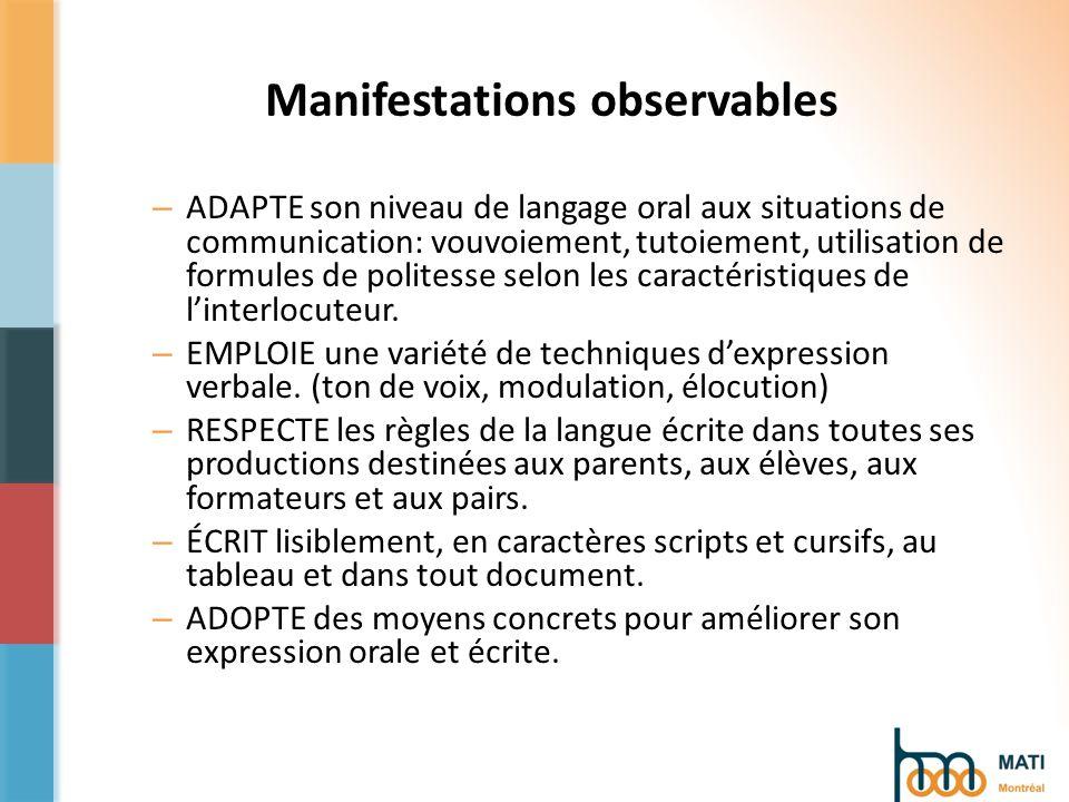 Manifestations observables – ADAPTE son niveau de langage oral aux situations de communication: vouvoiement, tutoiement, utilisation de formules de politesse selon les caractéristiques de linterlocuteur.