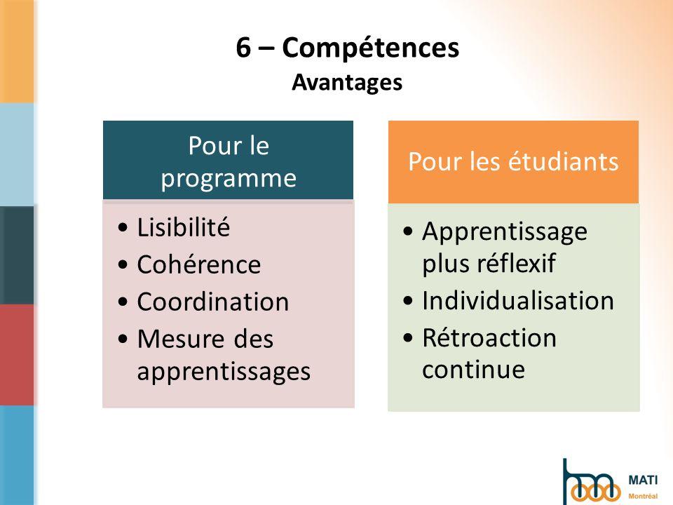 6 – Compétences Avantages Pour le programme Lisibilité Cohérence Coordination Mesure des apprentissages Pour les étudiants Apprentissage plus réflexif Individualisation Rétroaction continue