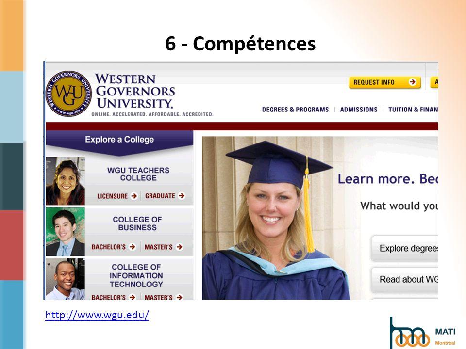 http://www.wgu.edu/ 6 - Compétences