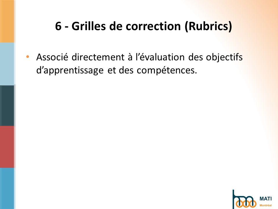 6 - Grilles de correction (Rubrics) Associé directement à lévaluation des objectifs dapprentissage et des compétences.