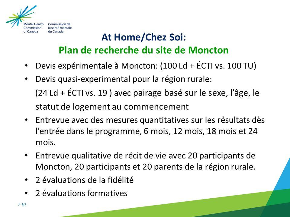 / 10 At Home/Chez Soi: Plan de recherche du site de Moncton Devis expérimentale à Moncton: (100 Ld + ÉCTI vs.