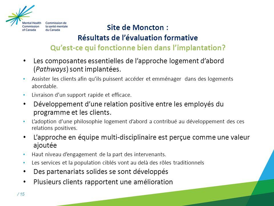/ 15 Site de Moncton : Résultats de lévaluation formative Quest-ce qui fonctionne bien dans limplantation.