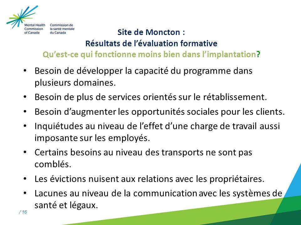 / 16 Site de Moncton : Résultats de lévaluation formative Quest-ce qui fonctionne moins bien dans limplantation.