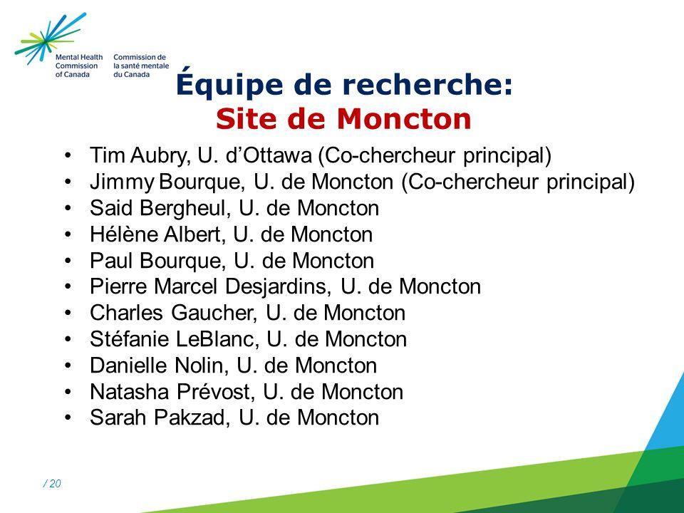 / 20 Équipe de recherche: Site de Moncton Tim Aubry, U.