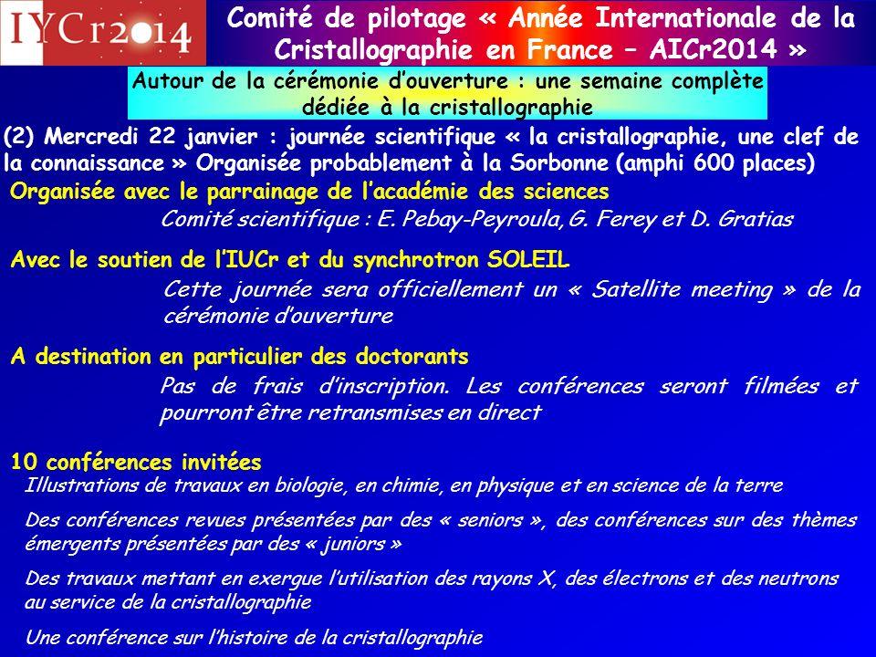 Comité de pilotage « Année Internationale de la Cristallographie en France – AICr2014 » Autour de la cérémonie douverture : une semaine complète dédié