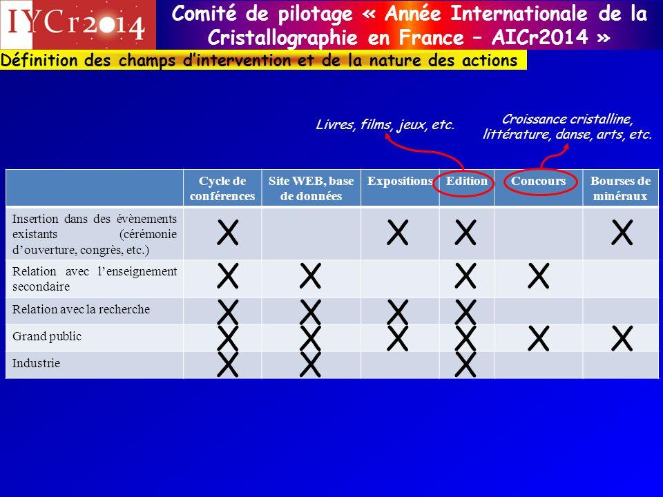 Comité de pilotage « Année Internationale de la Cristallographie en France – AICr2014 » Définition des champs dintervention et de la nature des action