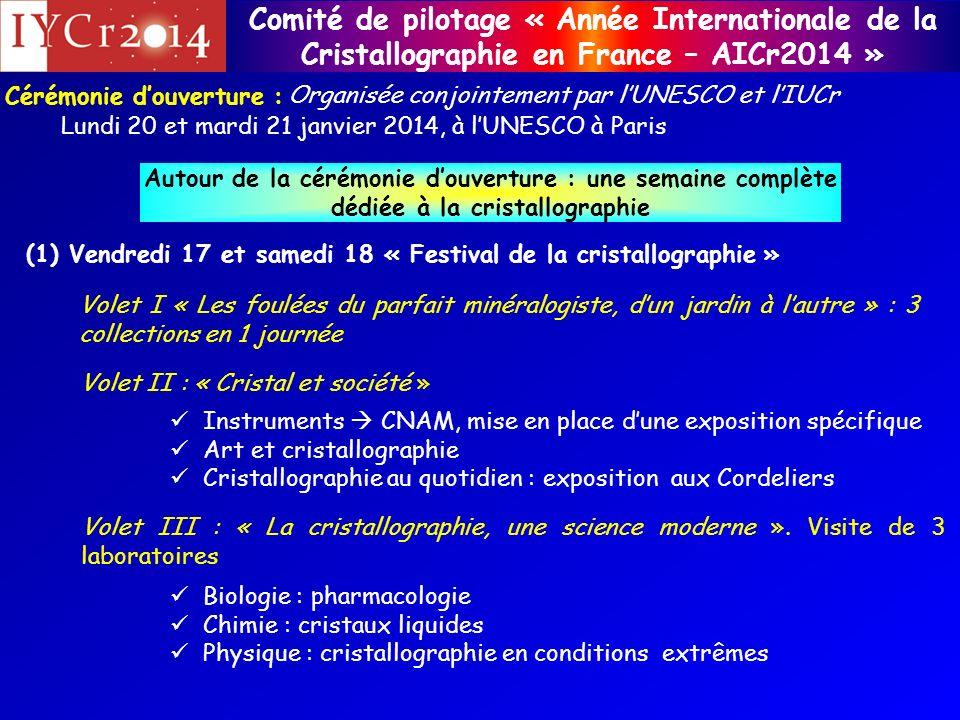 Comité de pilotage « Année Internationale de la Cristallographie en France – AICr2014 » Cérémonie douverture : Lundi 20 et mardi 21 janvier 2014, à lU