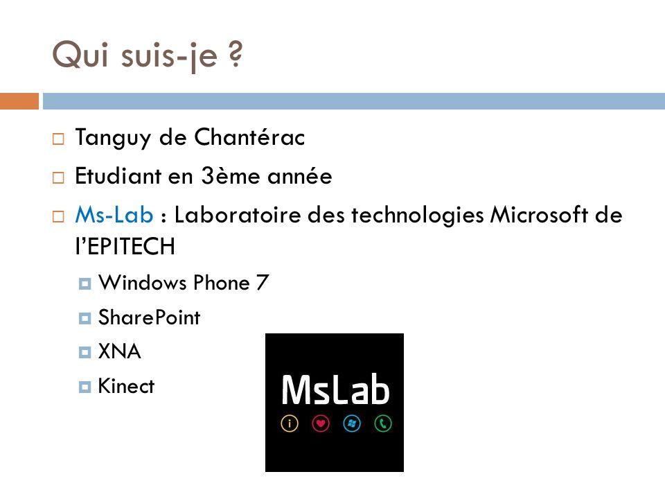 Qui suis-je ? Tanguy de Chantérac Etudiant en 3ème année Ms-Lab : Laboratoire des technologies Microsoft de lEPITECH Windows Phone 7 SharePoint XNA Ki