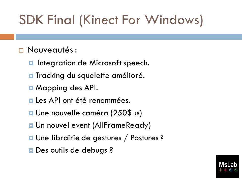 SDK Final (Kinect For Windows) Nouveautés : Integration de Microsoft speech. Tracking du squelette amélioré. Mapping des API. Les API ont été renommée