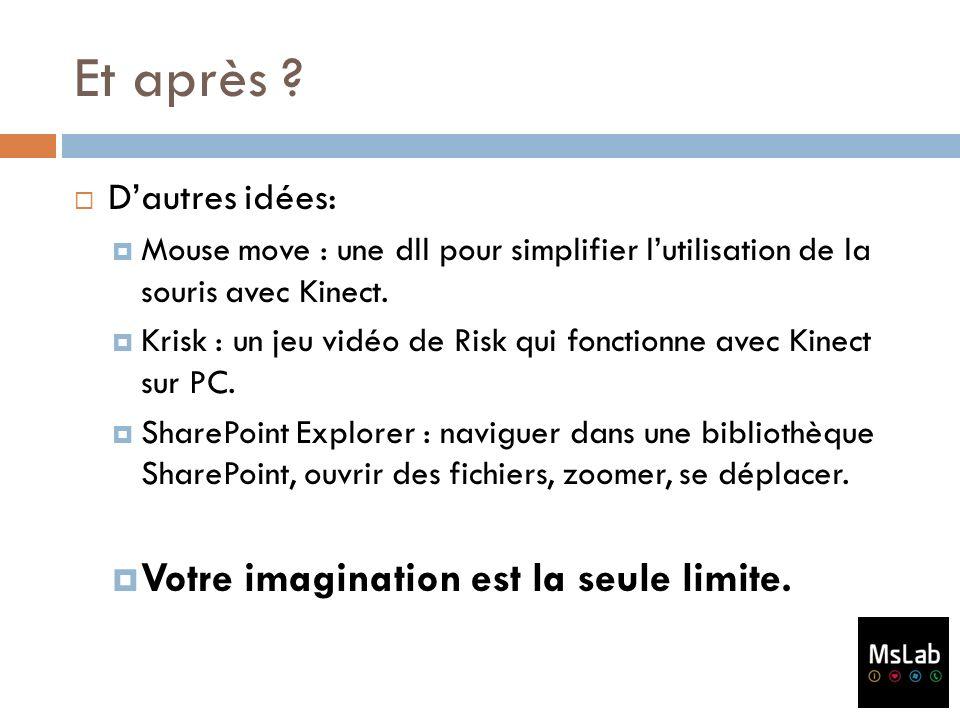 Et après ? Dautres idées: Mouse move : une dll pour simplifier lutilisation de la souris avec Kinect. Krisk : un jeu vidéo de Risk qui fonctionne avec