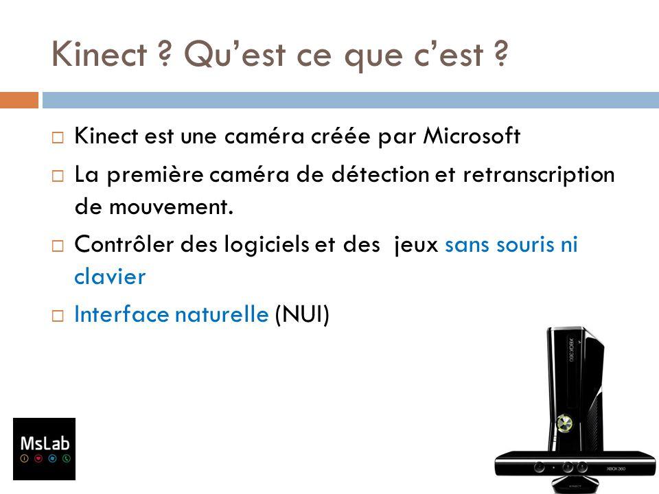 Kinect ? Quest ce que cest ? Kinect est une caméra créée par Microsoft La première caméra de détection et retranscription de mouvement. Contrôler des
