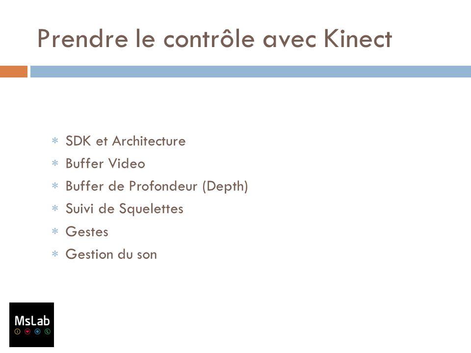 Prendre le contrôle avec Kinect SDK et Architecture Buffer Video Buffer de Profondeur (Depth) Suivi de Squelettes Gestes Gestion du son