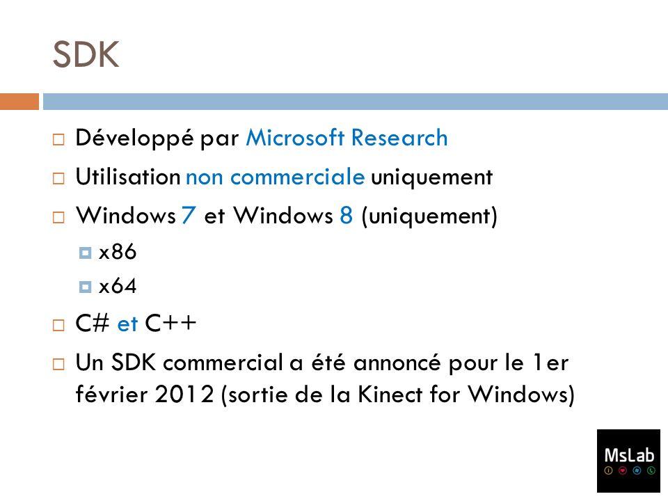 SDK Développé par Microsoft Research Utilisation non commerciale uniquement Windows 7 et Windows 8 (uniquement) x86 x64 C# et C++ Un SDK commercial a
