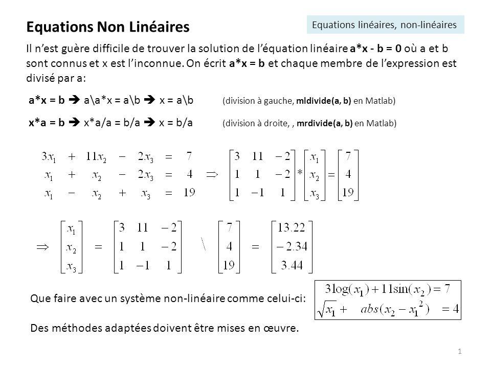2 Trouver les « zéros » de fonctions non linéaires, les valeurs réelles telles que f( )=0 Avantage: lalgorithme nutilise que des évaluations de la fonction f Equations Non Linéaires Méthode de la bissection (dichotomie)