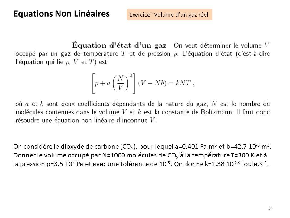 14 On considère le dioxyde de carbone (CO 2 ), pour lequel a=0.401 Pa.m 6 et b=42.7 10 -6 m 3. Donner le volume occupé par N=1000 molécules de CO 2 à