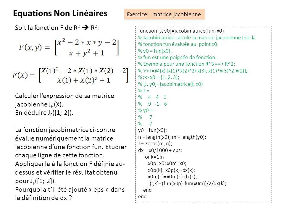 Equations Non Linéaires Exercice: matrice jacobienne Soit la fonction F de R 2 R 2 : Calculer lexpression de sa matrice jacobienne J F (X). En déduire