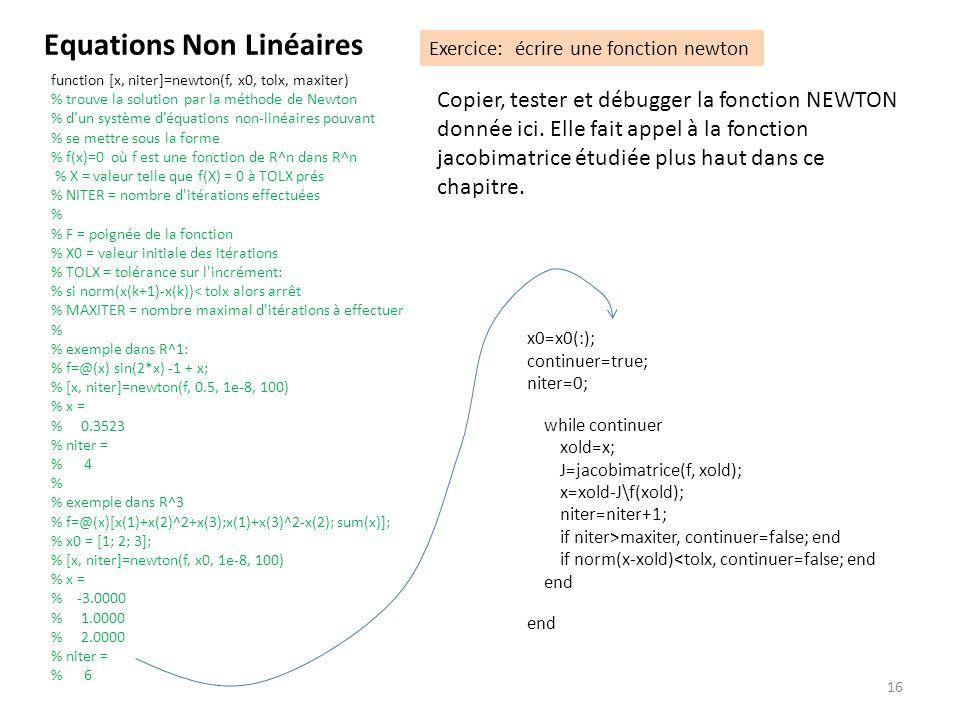 16 Copier, tester et débugger la fonction NEWTON donnée ici. Elle fait appel à la fonction jacobimatrice étudiée plus haut dans ce chapitre. Equations