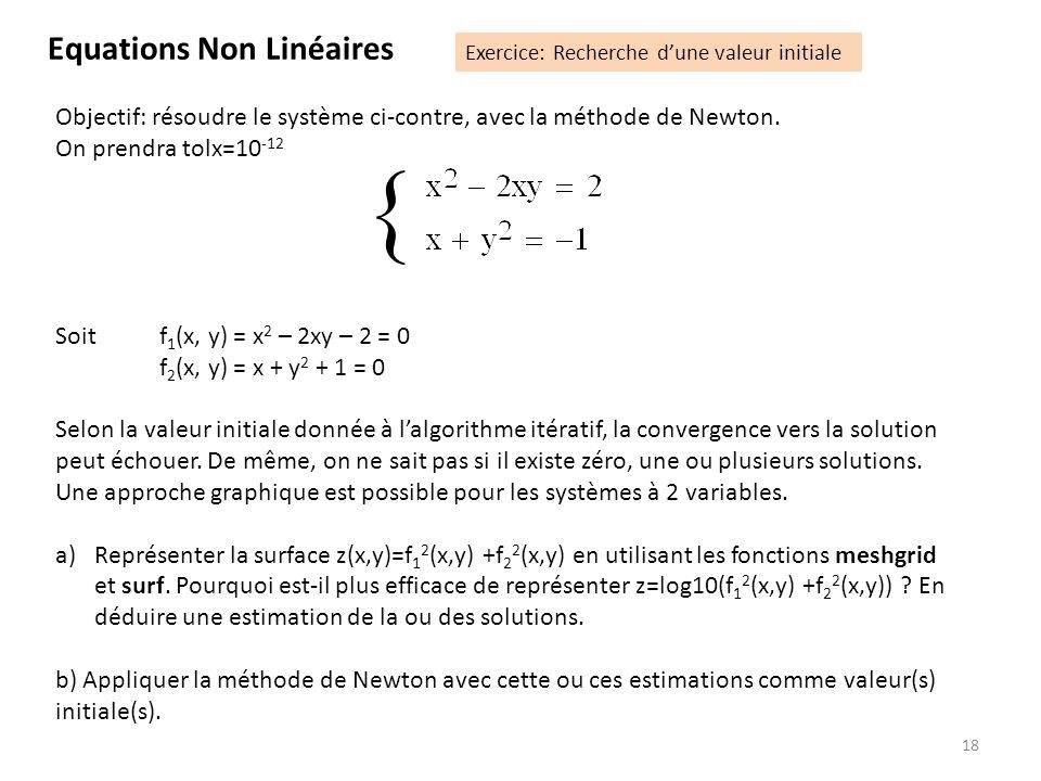 18 Objectif: résoudre le système ci-contre, avec la méthode de Newton. On prendra tolx=10 -12 Soit f 1 (x, y) = x 2 – 2xy – 2 = 0 f 2 (x, y) = x + y 2
