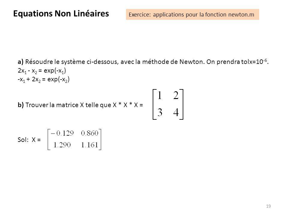 19 a) Résoudre le système ci-dessous, avec la méthode de Newton. On prendra tolx=10 -6. 2x 1 - x 2 = exp(-x 1 ) -x 1 + 2x 2 = exp(-x 2 ) b) Trouver la