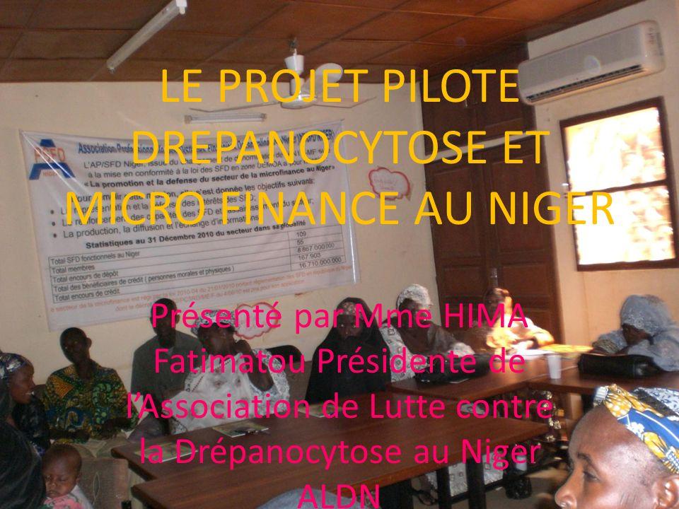 LE PROJET PILOTE DREPANOCYTOSE ET MICRO FINANCE AU NIGER Présenté par Mme HIMA Fatimatou Présidente de lAssociation de Lutte contre la Drépanocytose a