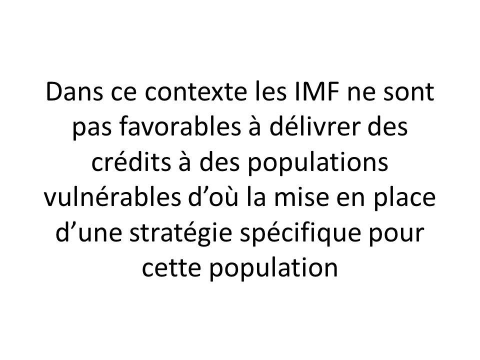 Dans ce contexte les IMF ne sont pas favorables à délivrer des crédits à des populations vulnérables doù la mise en place dune stratégie spécifique po