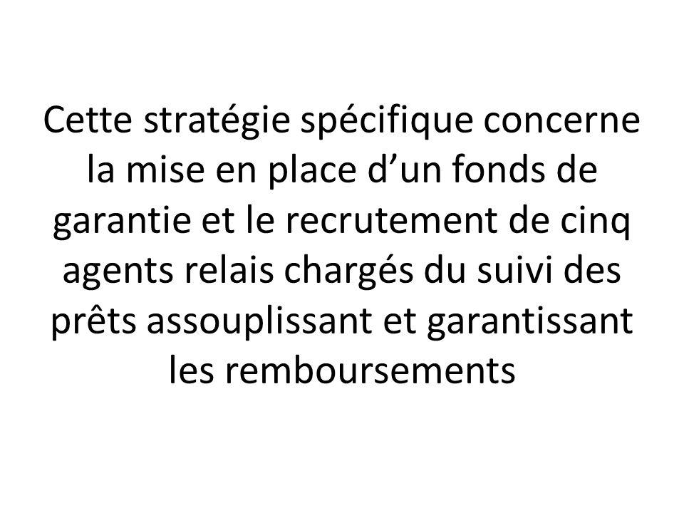 Cette stratégie spécifique concerne la mise en place dun fonds de garantie et le recrutement de cinq agents relais chargés du suivi des prêts assoupli
