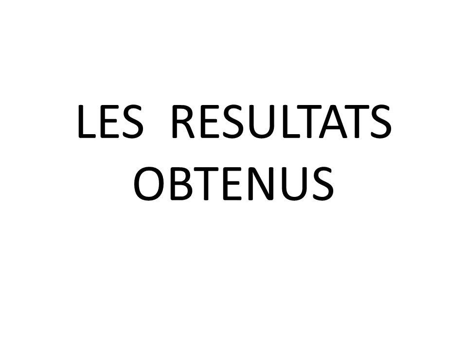 LES RESULTATS OBTENUS
