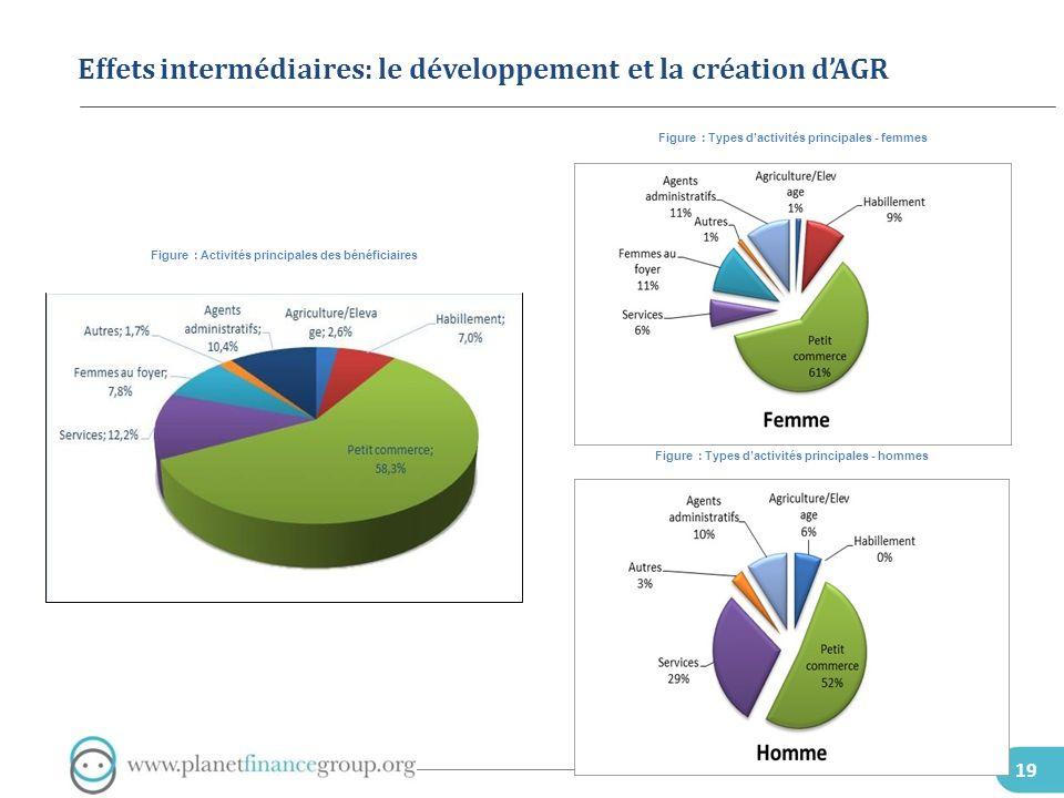 19 Effets intermédiaires: le développement et la création dAGR Figure : Activités principales des bénéficiaires Figure : Types dactivités principales