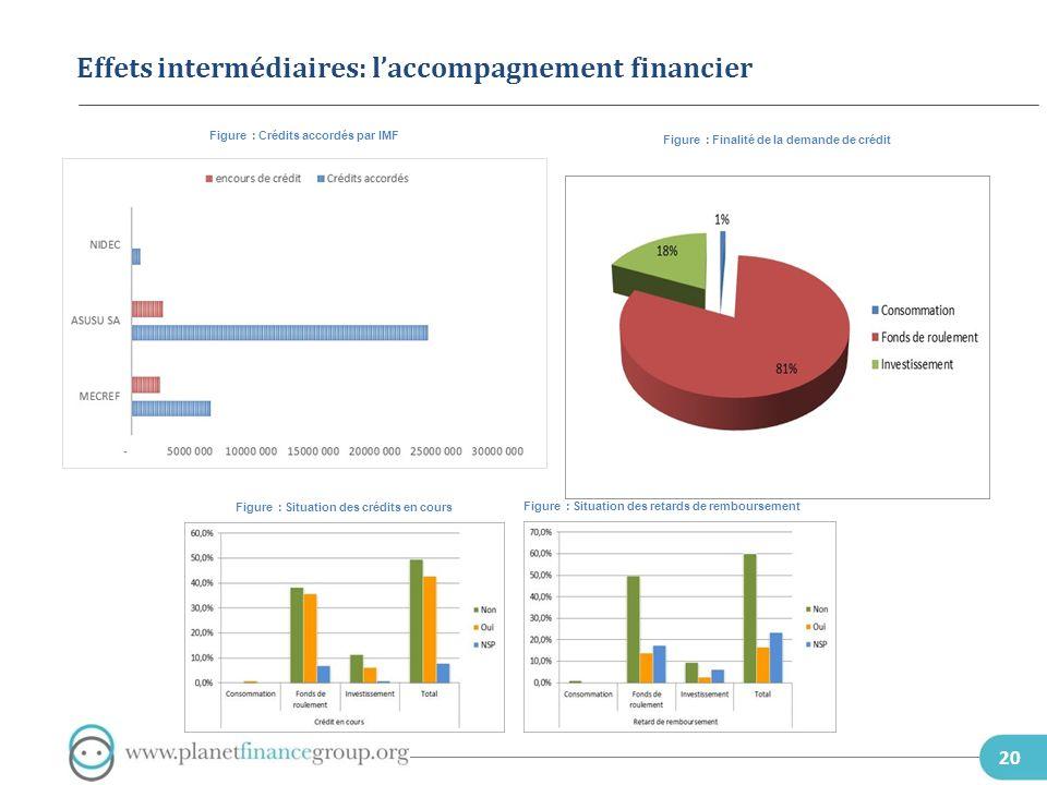 20 Effets intermédiaires: laccompagnement financier Figure : Crédits accordés par IMF Figure : Finalité de la demande de crédit Figure : Situation des