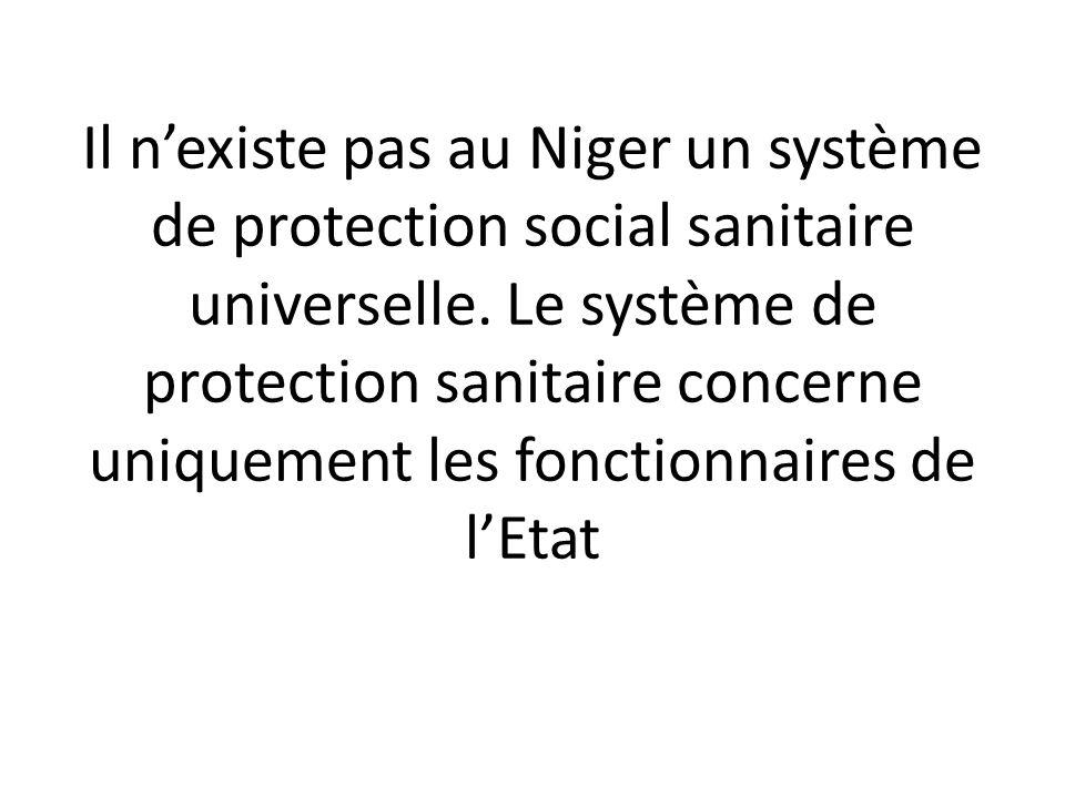Il nexiste pas au Niger un système de protection social sanitaire universelle. Le système de protection sanitaire concerne uniquement les fonctionnair