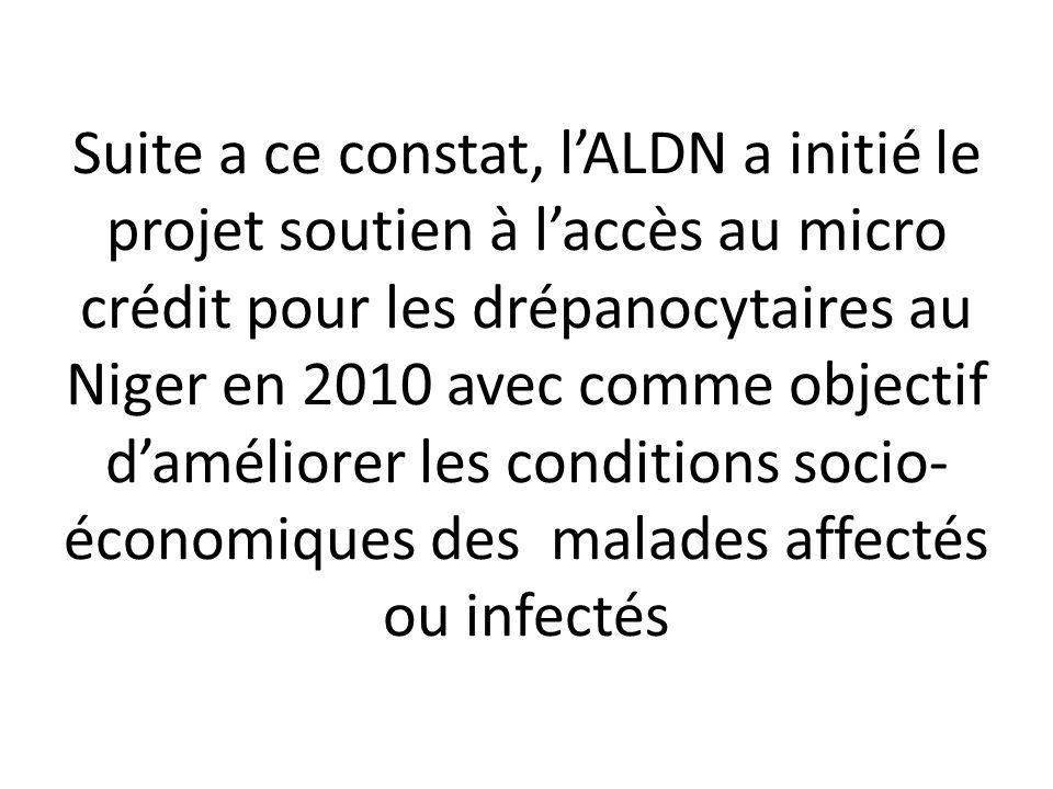 Suite a ce constat, lALDN a initié le projet soutien à laccès au micro crédit pour les drépanocytaires au Niger en 2010 avec comme objectif daméliorer