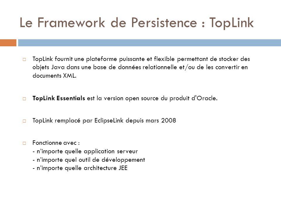 Le Framework de Persistence : TopLink TopLink fournit une plateforme puissante et flexible permettant de stocker des objets Java dans une base de donn
