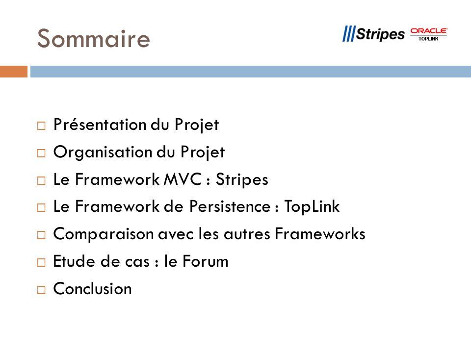 Sommaire Présentation du Projet Organisation du Projet Le Framework MVC : Stripes Le Framework de Persistence : TopLink Comparaison avec les autres Fr