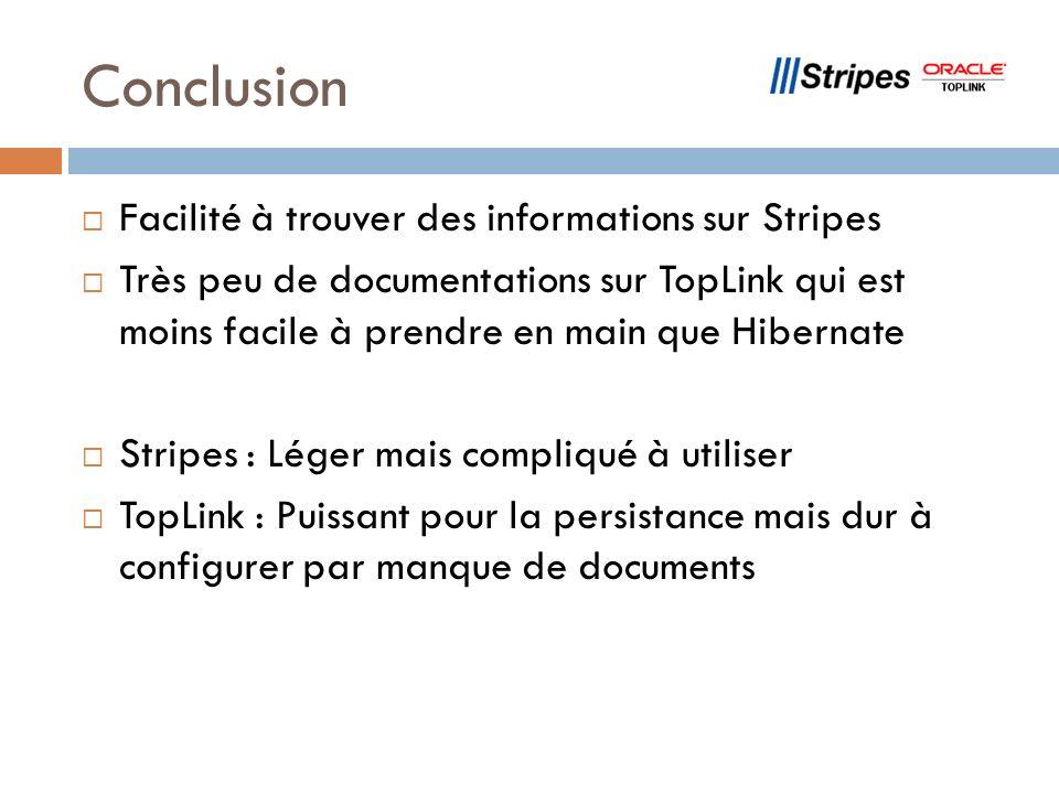 Conclusion Facilité à trouver des informations sur Stripes Très peu de documentations sur TopLink qui est moins facile à prendre en main que Hibernate