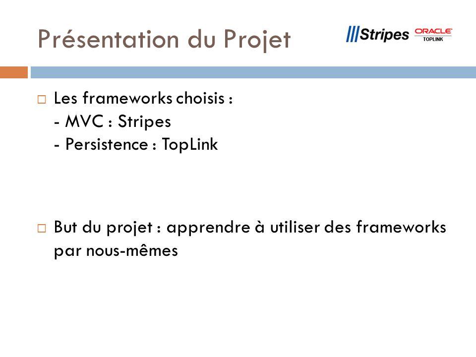 Présentation du Projet Les frameworks choisis : - MVC : Stripes - Persistence : TopLink But du projet : apprendre à utiliser des frameworks par nous-mêmes