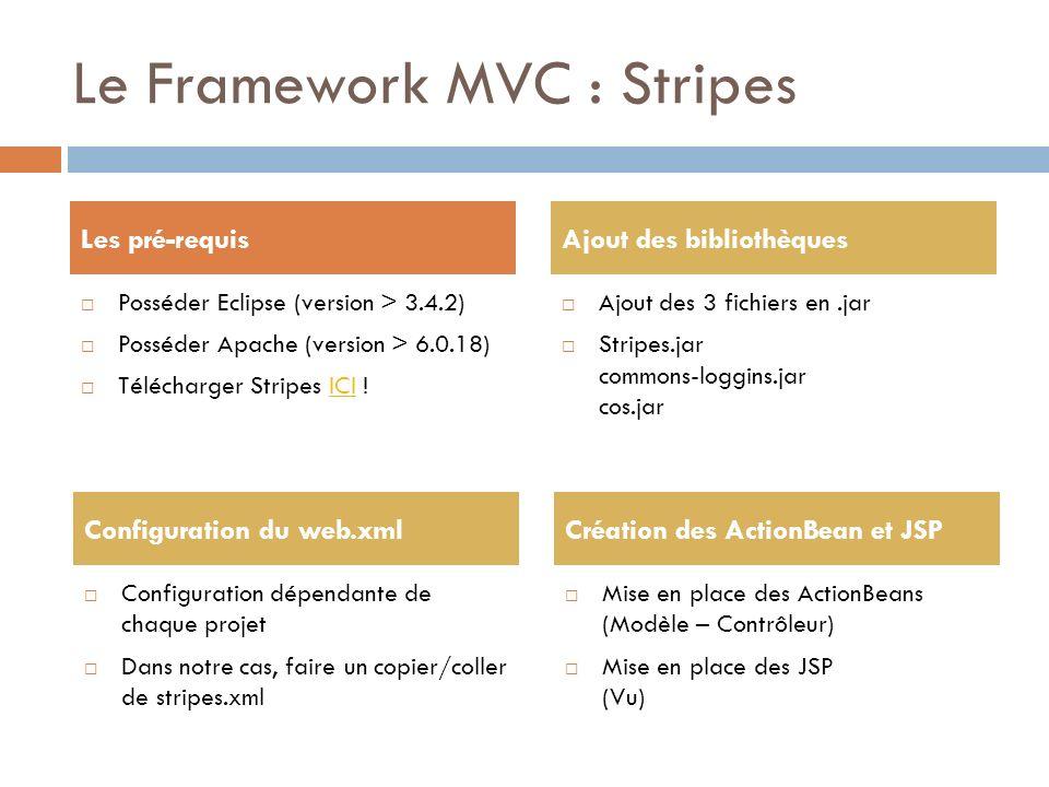 Le Framework MVC : Stripes Posséder Eclipse (version > 3.4.2) Posséder Apache (version > 6.0.18) Télécharger Stripes ICI !ICI Ajout des 3 fichiers en.