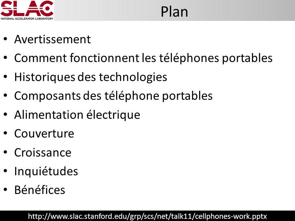 http://www.slac.stanford.edu/grp/scs/net/talk11/cellphones-work.pptx Avertissement Comment fonctionnent les téléphones portables Historiques des techn