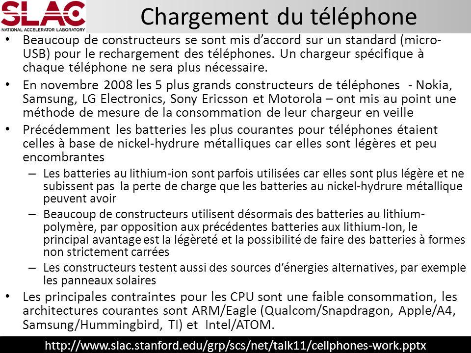 http://www.slac.stanford.edu/grp/scs/net/talk11/cellphones-work.pptx Chargement du téléphone Beaucoup de constructeurs se sont mis daccord sur un stan