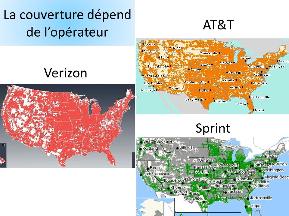 La couverture dépend de lopérateur Verizon AT&T Sprint