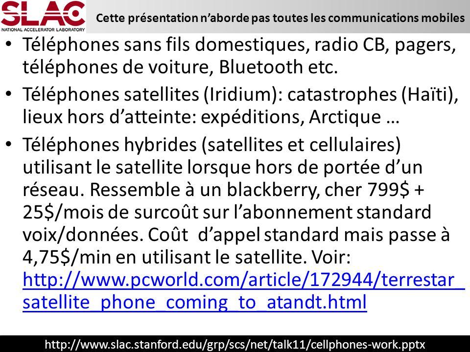 http://www.slac.stanford.edu/grp/scs/net/talk11/cellphones-work.pptx Cette présentation naborde pas toutes les communications mobiles Téléphones sans