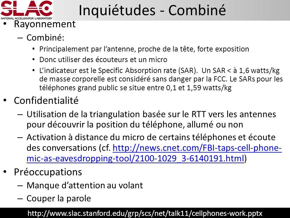 http://www.slac.stanford.edu/grp/scs/net/talk11/cellphones-work.pptx Inquiétudes - Combiné Rayonnement – Combiné: Principalement par lantenne, proche