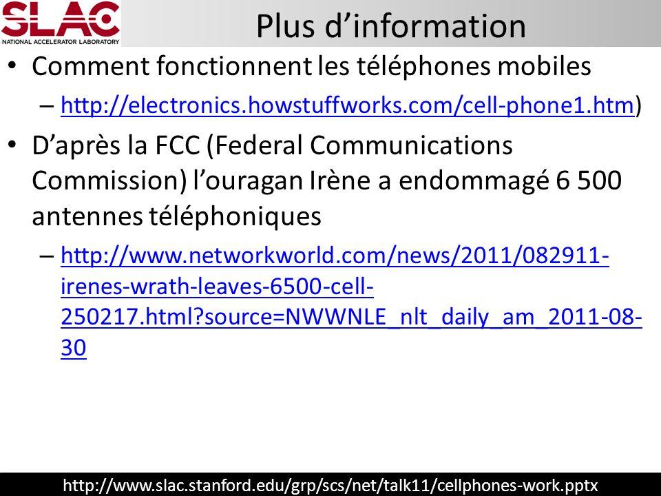 http://www.slac.stanford.edu/grp/scs/net/talk11/cellphones-work.pptx Comment fonctionnent les téléphones mobiles – http://electronics.howstuffworks.co